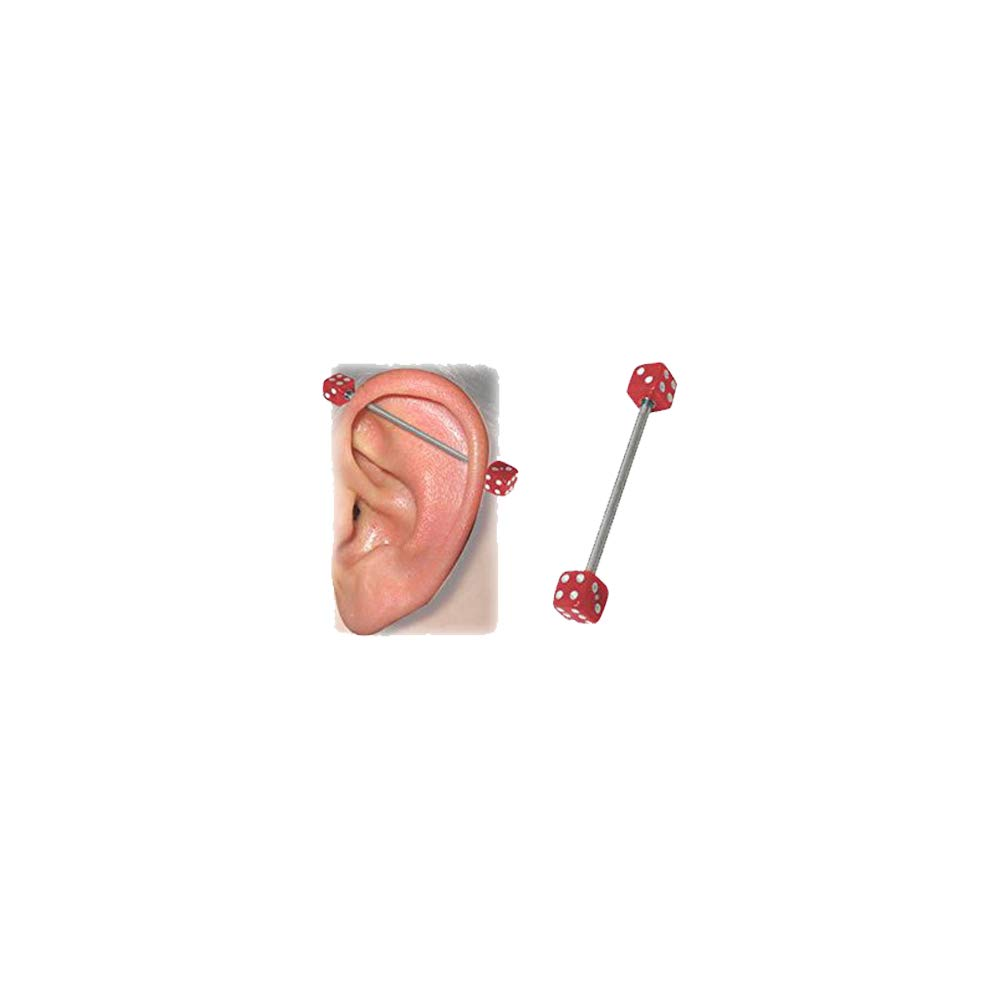 "BodyJewelryOnline Industrial Barbell with Red Acrylic Dice 14 Gauge - 1 1/2"" Inch"