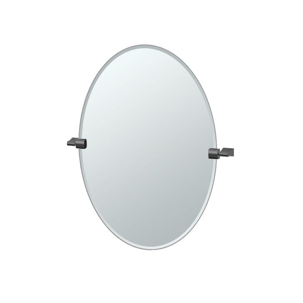 Gatco 4719MX Bleu Oval Mirror, 26.5-inch, Matte Black