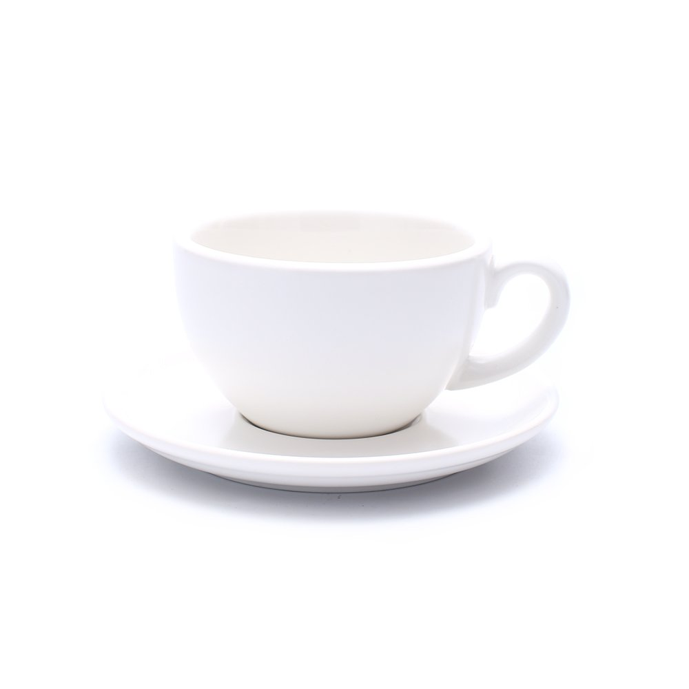 Coffeezone Latte Art Cup and Saucer for Cappuccino and Americano, New Bone China, Mate for Coffee Shop and Barista (Matte White, 8.5 oz)