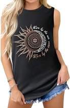 Sun Moon Graphic Tank Tops for Women Summer Sleeveless Tshirts Beach Casual Loose Tunic Blouses(Black,XL)