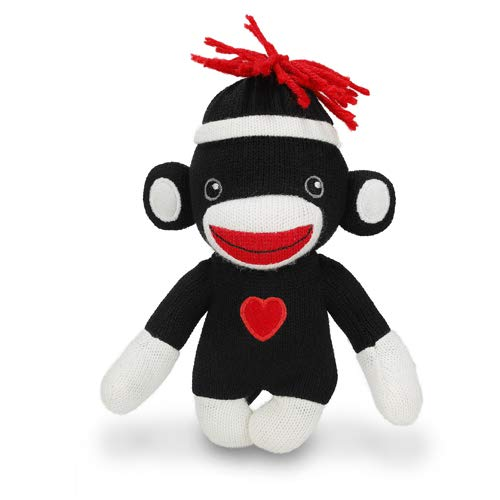 Plushland Sock Monkey Baby Doll, 6 Inches Puppet Comes with White Line Hat and Heart Logo in Front, Best Gift for Kids Expressing in Color of Love (Black (Together Forever))