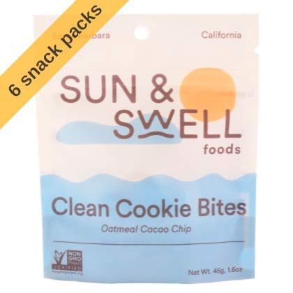 SUN & SWELL FOODS Plant Based Cookie Bites | Organic Date & Cashew Snack Cookies | Gluten Free, Whole Food, Vegan (Oatmeal Cacao Chip, 6 Units (1.6 Ounce))