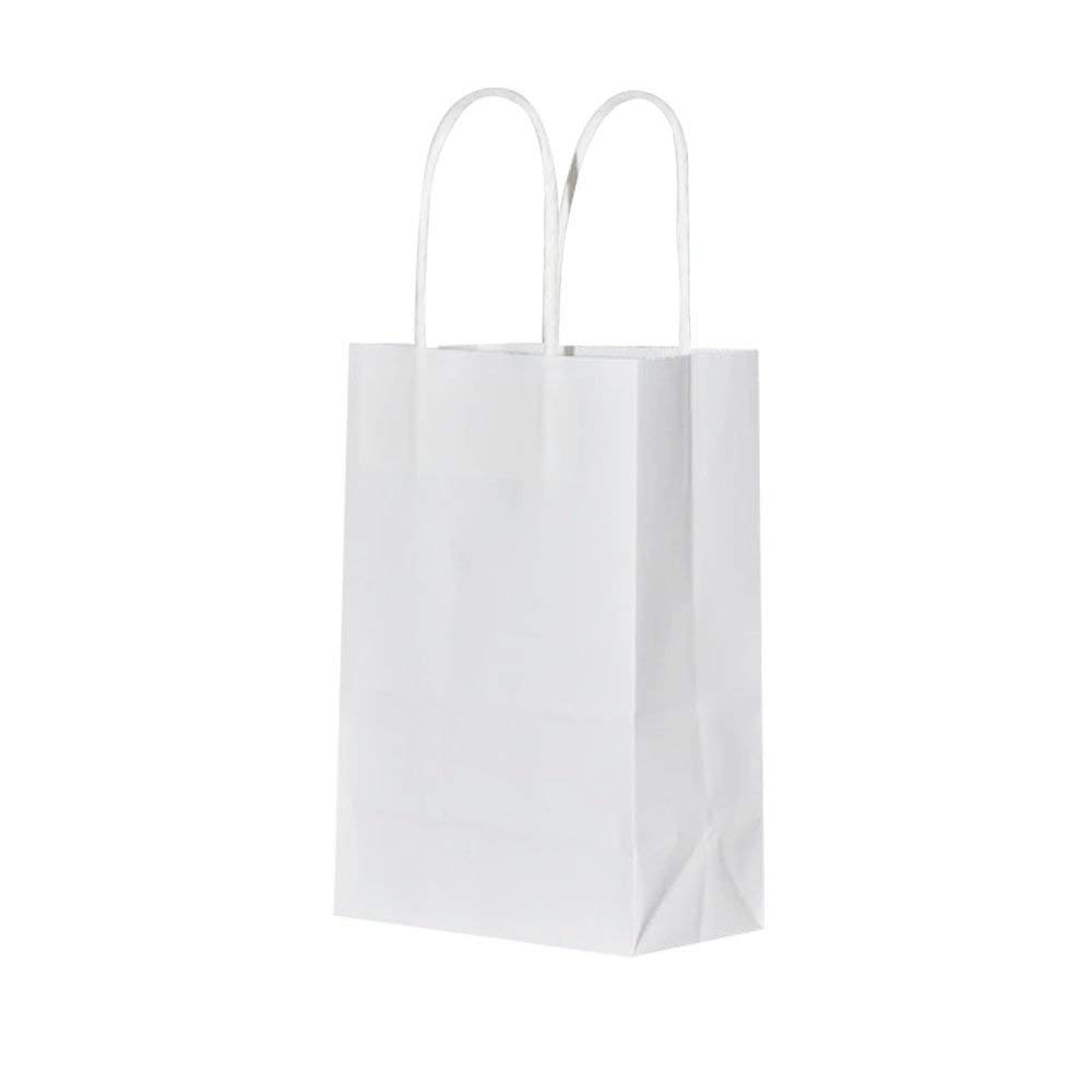 Sturdy Small White Kraft Paper Bags with Handles Bulk, Bagmad Gift Bags 5.25x3.25x8 inch 100 Pcs Pack, Craft Grocery Shopping Retail Party Wedding Bags Sacks (White, 100pcs)