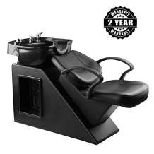 Shampoo Chair Backwash Bowl Unit Station Barber Chair Spa Salon Equipment (Black)