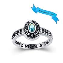 Customized Sterling Silver High School Class Ring – Black Band Collection – Fully Personalized