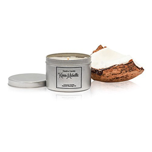 Destiny Candle by Karen Michelle Coconut Vanilla Scented Massage Oil Candle - Aromatherapy Beautiful Piece of Jewelry Inside | A Perfect Way to Rekindle The Romance
