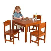KidKraft Wooden Farmhouse Table & 4 Chairs Set, Children's Furniture for Arts & Activity – Pecan