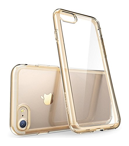i-Blason Clear Case for iPhone 7 2016 / iPhone 8 2017 Release , [Halo Series] [Scratch Resistant] (Clear/Gold)