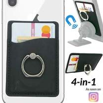 LifeStyle Designs New 4-in-1 Stick-On Magnetic Ring Wallet Card Holder for Any Phone – Universal 3M Adhesive for Any Phone Case: iPhone Xs X Max Plus 8 7 6 5 etc (Classic, Universal)