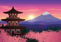 Baocicco 6x5ft Cartoon Japanese Mount Fuji Mountain Asakusa Senso-ji Temple Backdrop Photography Background Sunrise Pink Sky Pink Sakura Japan Theme Party Birthday Reunion Polyester Photo Props