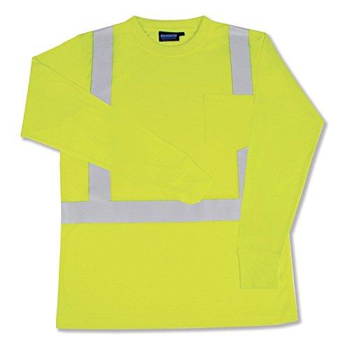 ERB 14126 9602S ANSI Hi-Vizability Long Sleeve Jersey Knit Shirt, Lime Green, 4X-Large