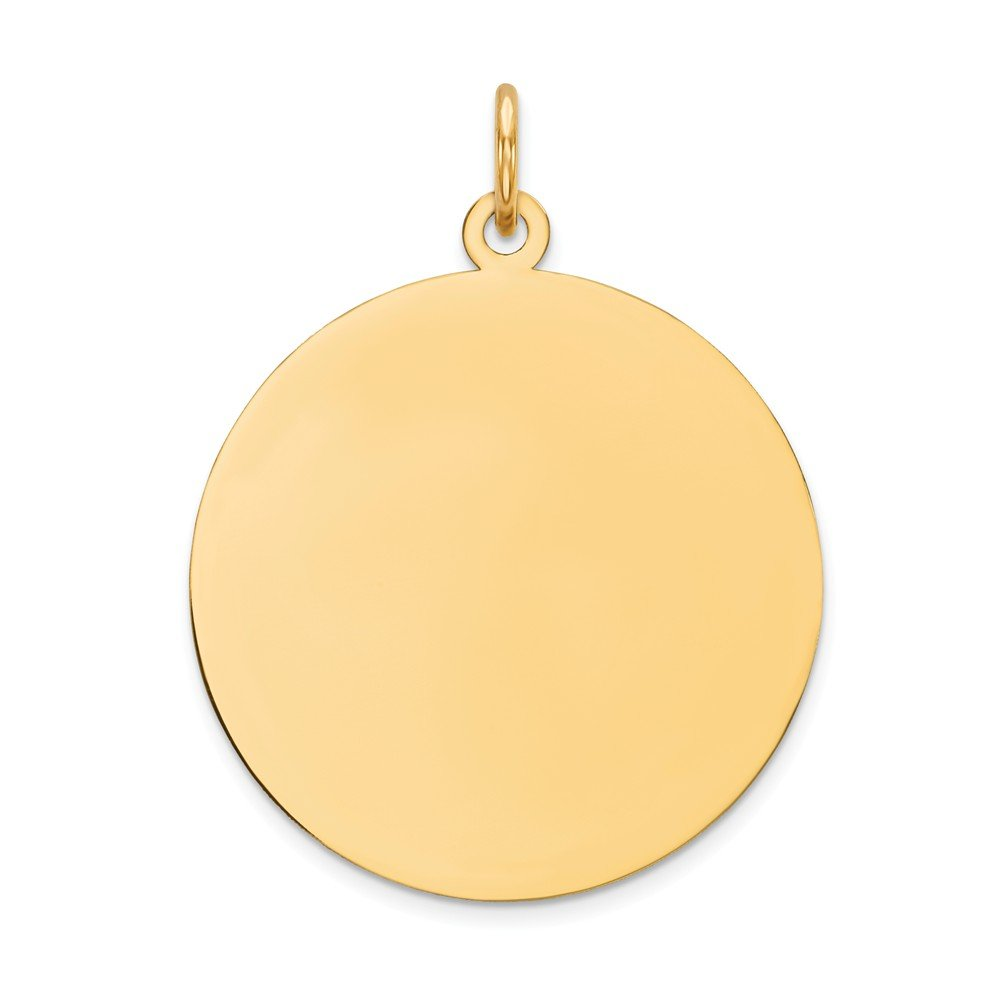 14k Yellow Gold .011 Gauge Circular Engravable Disc Pendant Charm Necklace Round Plain Fine Mothers Day Jewelry For Women Gifts For Her