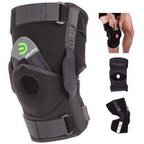 DISUPPO Hinged Knee Brace Support Women Men, Adjustable Open Patella Stabilizer for Sports Trauma, Sprains, Arthritis, ACL, Meniscus Tears, Ligament Injuries (Hinge Removable, X-Large)