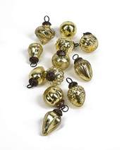 """Serene Spaces Living Set of 12 Mini Light Gold Mercury Glass Ornaments for Holiday Décor, Measures 1.5"""" Long and 1.5"""" Diameter"""