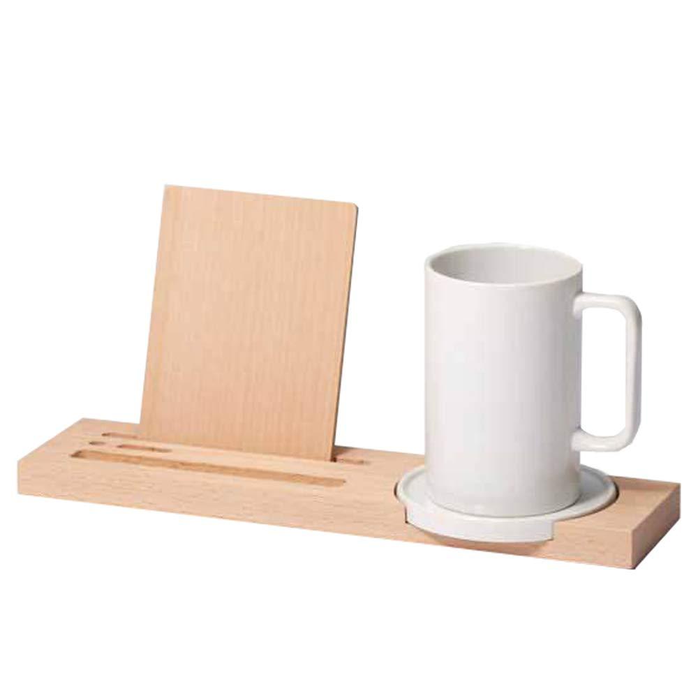 Ideaco Japan Designer Wooden Desk Organizer, Phone + Kindle + Mug Holder, Wood+White Ceramic