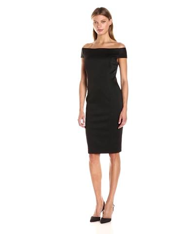 Adrianna Papell Women's Off The Shoulder Ottoman Sheath Dress, Black, 4