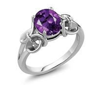 Gem Stone King 1.50 Ct Oval Purple Amethyst Gemstone Birthstone 925 Sterling Silver Ring (Available 5,6,7,8,9)