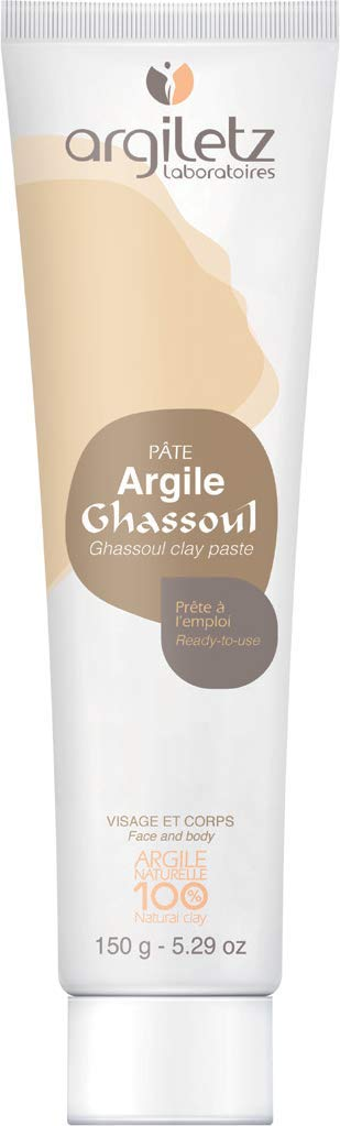 Argiletz Rhassoul (ghassoul) clay face and body mask for sensitive skin 150g / 5.29 fl.oz. 100% sourced and produced in France. Finest grade of clay.