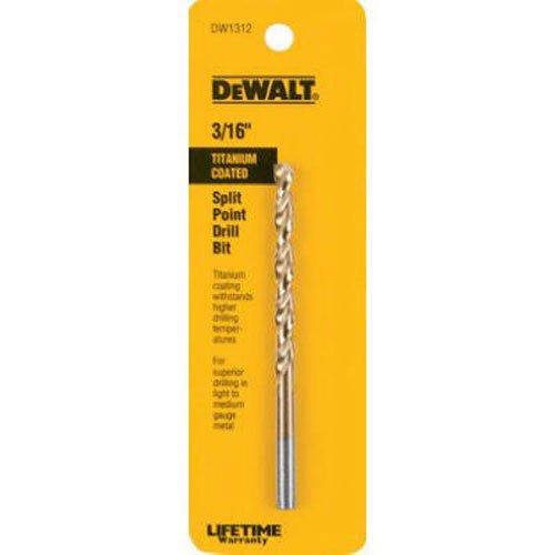 DEWALT DW1312 3/16-Inch Titanium Split Point Twist Drill Bit
