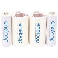 """Panasonic K-KJS2MCA2BA eneloop C Size Battery Adapters with eneloop AA 2100 Cycle Ni-MH Pre-Charged Rechargeable Batteries, 2 Pack with 2 """"C"""" Adapters"""