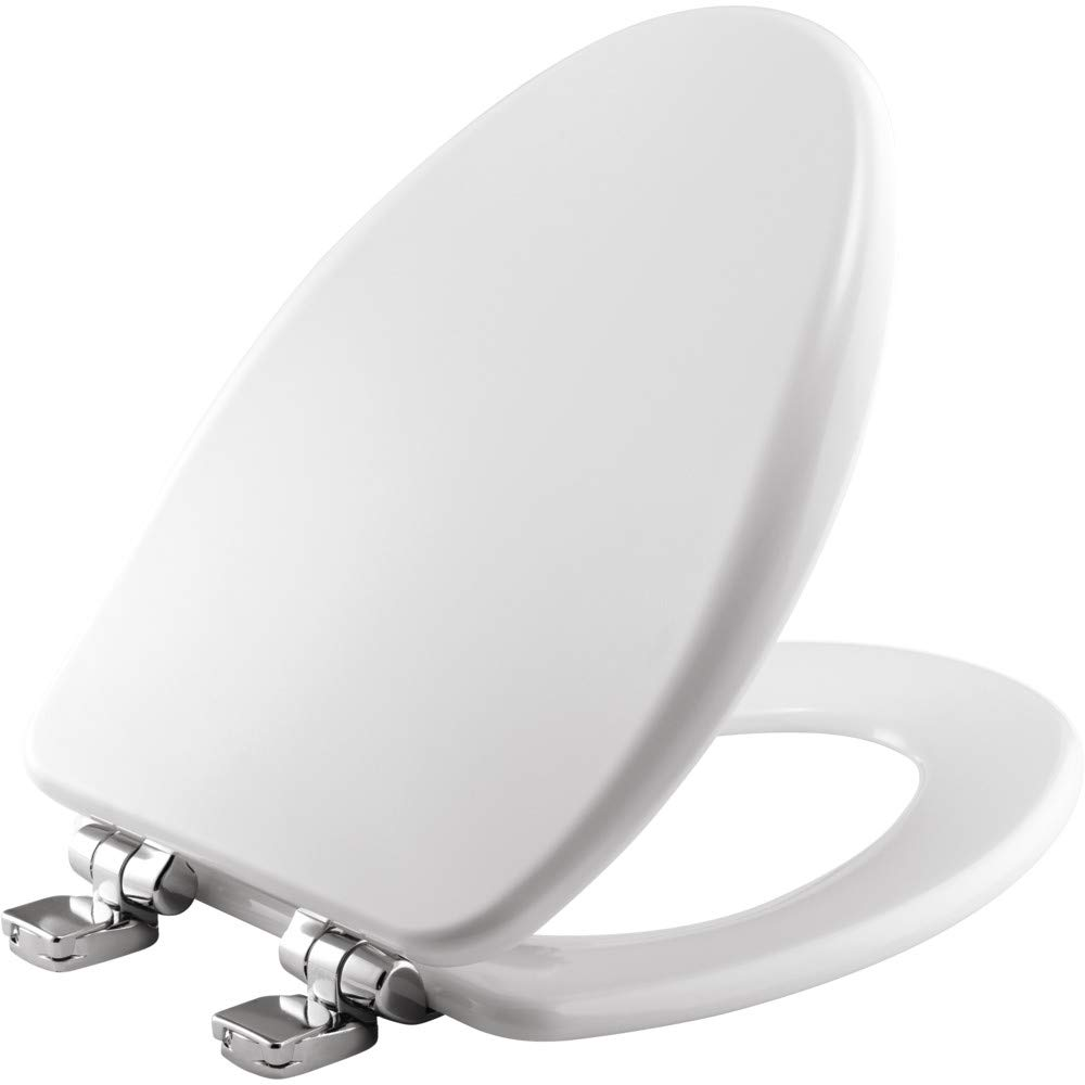 BEMIS 19170CHSL 000 Toilet Seat with Chrome Hinges will Slow Close, Never Loosen and Provide the Perfect Fit, ELONGATED, Durable Enameled Wood, White