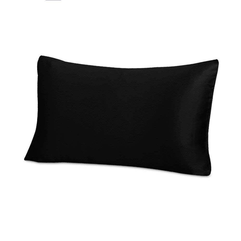"""THXSILK 19 Momme Mulberry Silk Pillowcase for Hair and Skin-Pure Natural Silk on Both Sides,Pillow Cover with Envelope Closure, King Size 20"""" x 36"""", Black"""