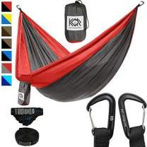 KOR Outdoors Tree Hammock with Upgraded Tree Straps & Carabiners - Quick & Easy Setup