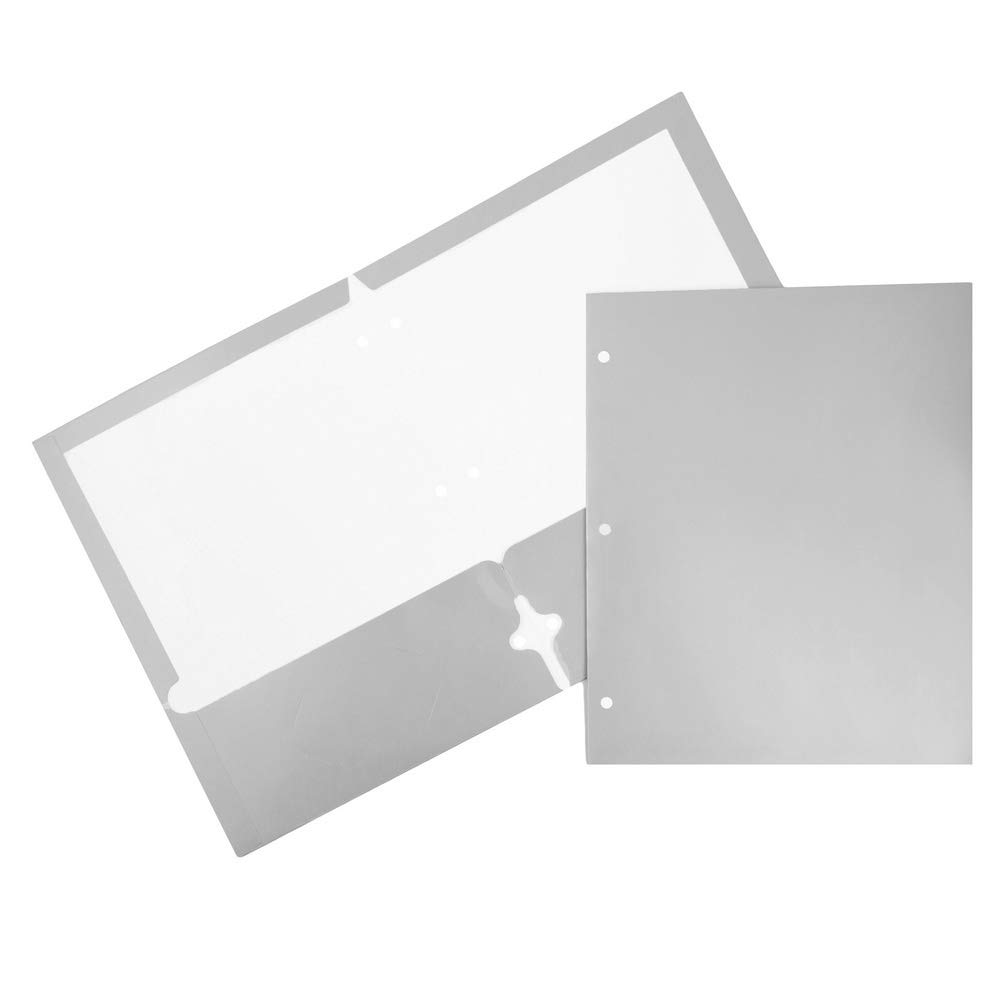 JAM PAPER Laminated Two Pocket Glossy 3 Hole Punch School Folders - Silver - 6/Pack