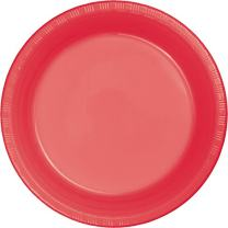 """Creative Converting 28314631 Touch of Color Plastic Banquet Plates Party Supplies, 10.25"""", Coral"""