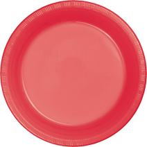 Creative Converting Touch of Color Plastic Dinner Plate, 8.75-Inch, Coral