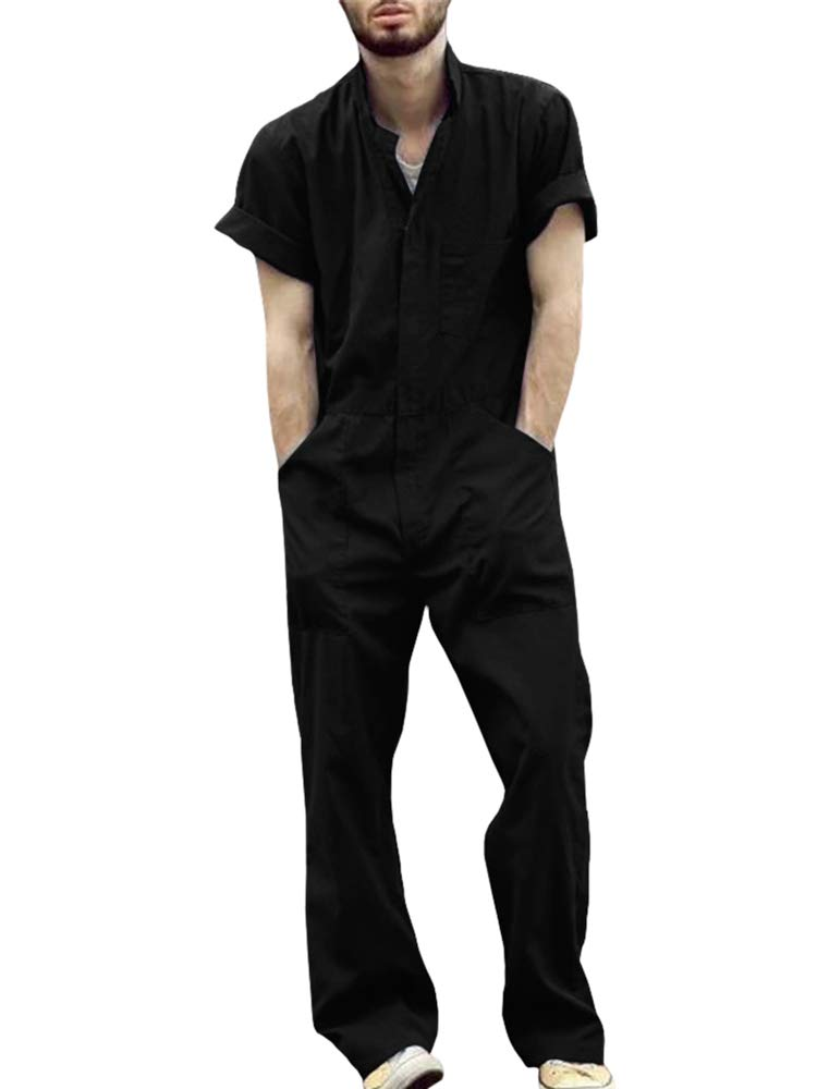Makkrom Mens Romper Button Down Short Sleeve One Piece Jumpsuit Casual Coverall with Pockets