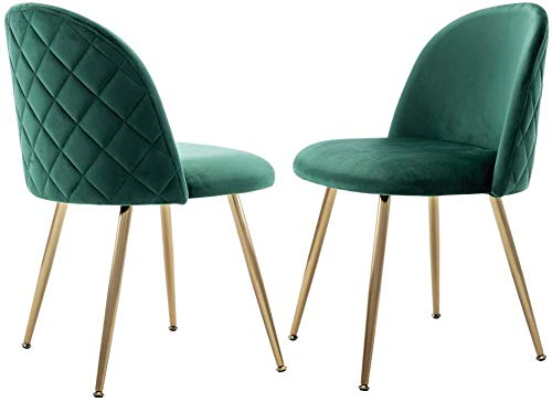 Chairus Velvet Dining Chair, Upholstered Side Chairs for Living Room, Modern Accent Chairs with Gold Metal Legs, Set of 2, Green Chairs