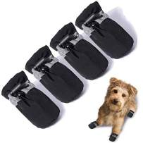 """TEOZZO Dog Boots Paw Protector, Anti-Slip Winter Dog Shoes with Reflective Straps for Small Medium Large Dogs 4PCS(Size 6: 2.36""""x1.96"""")"""