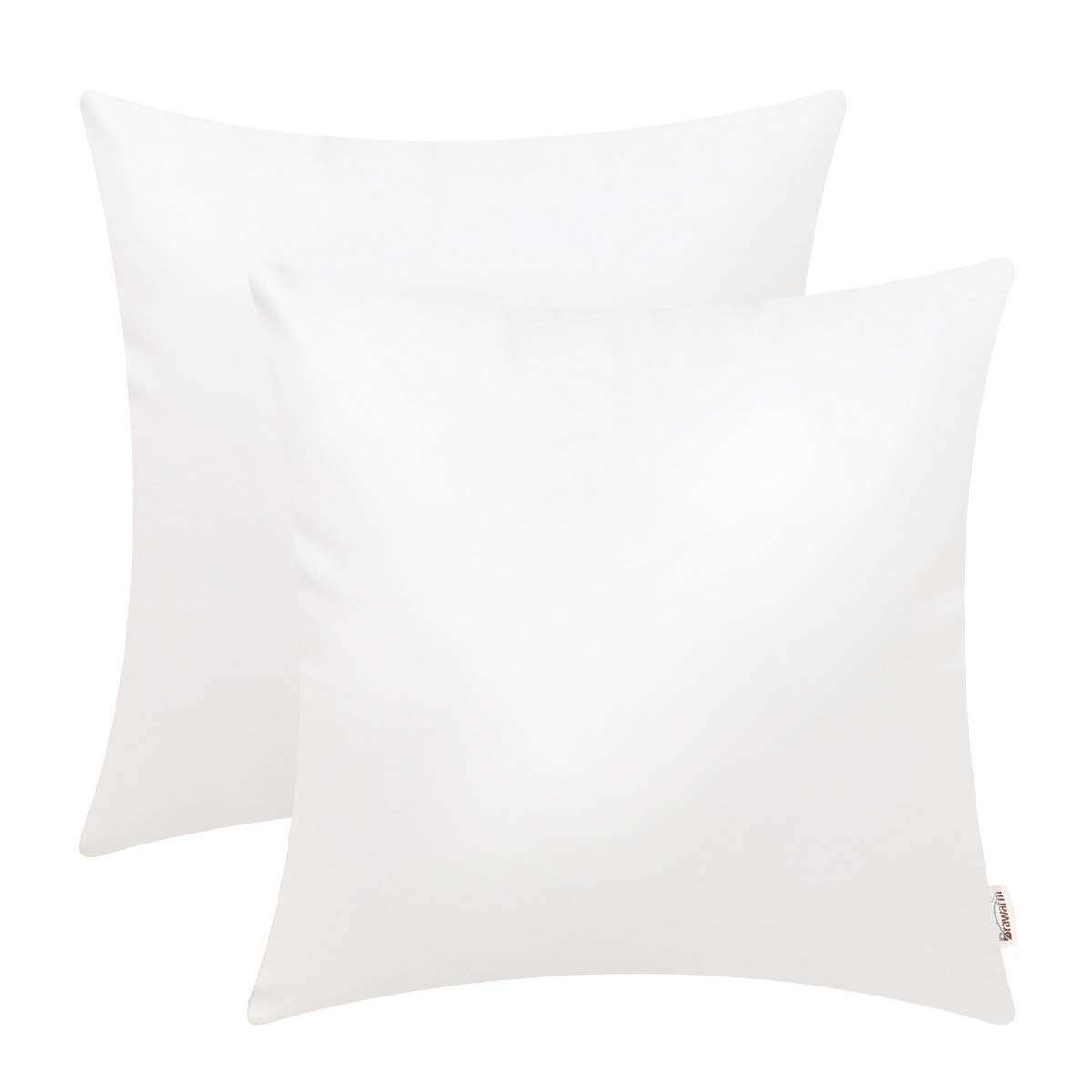 BRAWARM Pack of 2 Cozy Throw Pillow Covers Cases for Couch Sofa Home Decoration Solid Dyed Soft Faux Leather Both Sides 18 X 18 Inches True White