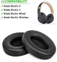 Beats Studio Replacement Ear Pads Cushions - Noise Isolation Adaptive Memory Foam | Upgraded Strong Adhesive with Easy Installation - Compatible with Studio 2 & 3 / Wired/Wireless,Black