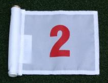 """ShopTJB Red Numbered #2 Printed on a Solid White Jr. (8"""" L x 6"""" H) 400 Denier Pin Marker Flag for Golf & Putting Green Applications"""