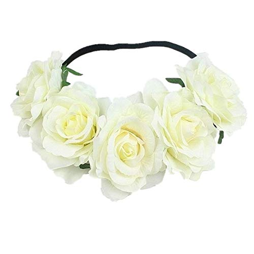 Edary Rose Flower Crown Wedding Floral Wreath Garland with Elastic Rope Hair Band Rose Hair Accessories for Women and Girls(1PC) (Beige)