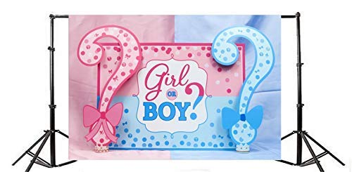 Baocicco Baby Shower Girl or Boy Question Mark Backdrop 7x5ft Photography Background Red and Blue Splicing Background Welcome Baby Arrival Party Decor Best Bless Pregnancy Photo Shooting Props