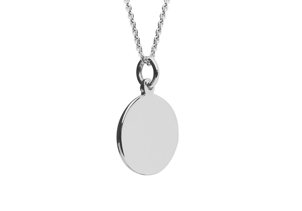 apop nyc Sterling Silver Plain Small Round Disc Pendant Necklace (16 inch - 30 inch) Engravable