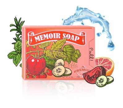 Memoir Natural Acne Treatment Soap for Sensitive Skin- Hyaluronic Acid, Tomato & Cucumber Extract, Grapefruit, Tea Tree & Eucalyptus Oil - Gentle Acne Cleanser, Body & Face Wash, Blackhead Removal