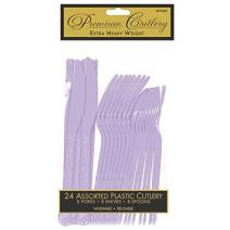 Premium Heavy Weight Assorted Cutlery | Lavender | Pack of 24 | Party Supply