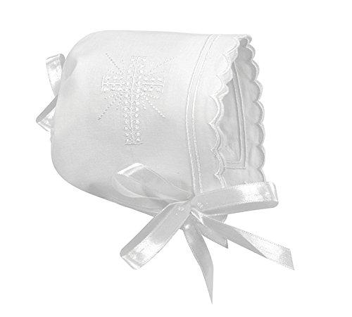 Stephan Baby Keepsake Cutwork Handkerchief Christening Bonnet with Scalloped Hem, White