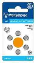 Westinghouse Hearing aid Batteries A13, Zinc Air Batteries, Mercury Free (A13, 60 Counts)