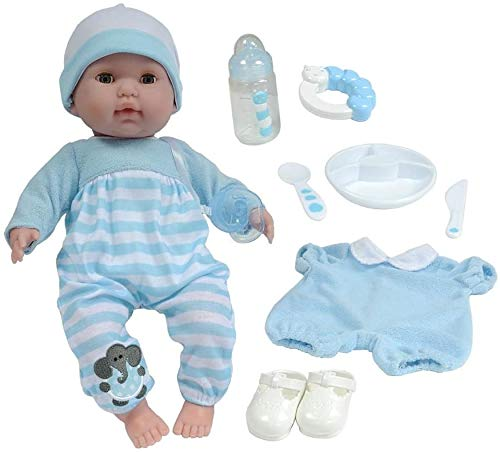 """Berenguer Boutique 15"""" Soft Body Baby Doll - Blue 10 Piece Gift Set with Open/Close Eyes- Perfect for Children 2+"""