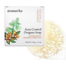 Aromavita Facial Acne Control Soap - Oregano Oil and Argan Oil Soap - Natural Cleansing Face Wash - Topical Skin Cleanser Soap