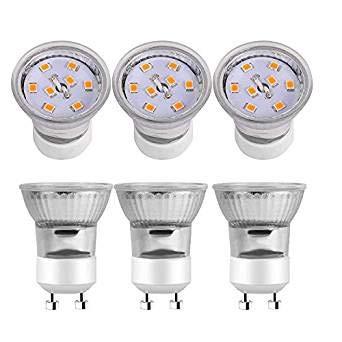Kindeep GU10 LED Bulbs, 30W Halogen Bulbs Equivalent, 3W, 220LM, 2700K Warm White, 120° Beam Angle, MR11 Non-Dimmable LED Light Bulb 6-Pack
