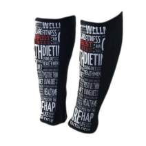 ROBUST FITNESS Shin Guards, 1 Pair, Protection & Compression, Quick to Dry, 5mm Neoprene Front, Breathable Back (Black/Word Art, Large)