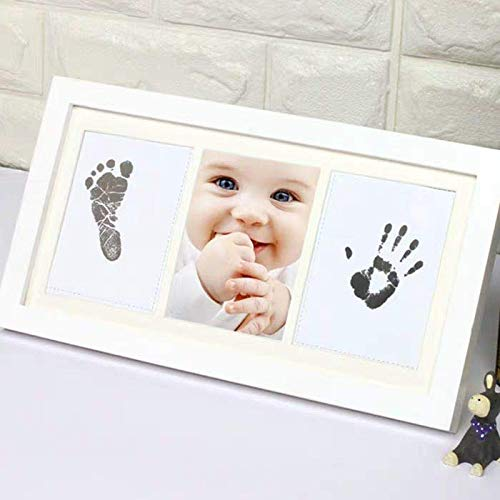 Olele Baby First Year Photo Frame Baby Handprint&Footprint Kit Babies Memorable Keepsake Set Picture Frame with Non-Toxic Clay/Ink - Best Shower/Birth Registry Gifts for Newborn Infant (Ink TypeB)