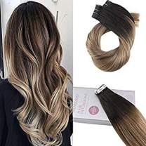Moresoo 16 Inch Skin Weft Tape in Hair Extensions Tape in Hair Extensions For Short Hair Color #1B Off Black Ombre to #10 Gold Brown Remy Hair Tape in Extensions Tape in Hair 100g/40pcs