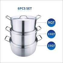 ARC USA, A3041 Sauce Pot Set with Lids, Restaurant Heavy Duty Aluminum Stock Pot Set of 3, 9 QT, 15 QT And 23 QT